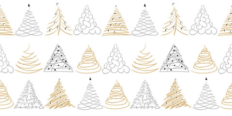Сhristmas tree border or frame on white. Doodle gold, silver color hand drawn decor. Vector design simple line seamless pattern. Many group of fir tree. Tradition vector vintage ornament background
