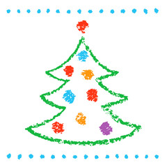 Like childs drawing christmas tree on white. Funny simple doodle cute artistic stroke style. Crayon, pencil or chalk like kids hand drawn vector background.