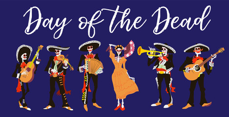 la Catrina and el mariachi musicians. Skeleton characters design. Day of the dead or halloween isolated vector illustration. Element for card, poster, or product for holiday.