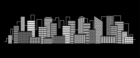 Vector city silhouette icon with windows in the night. Vector Illustration