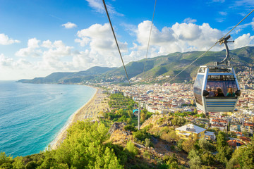 Alanya Cityscape with a cable car, Turkey