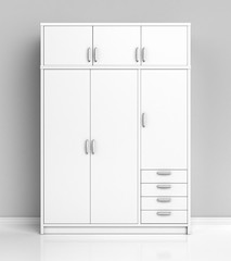 White closet in the room. 3d illustration