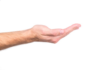 Mans hand  gesture isolated on a white background. Holding something or giving hand..