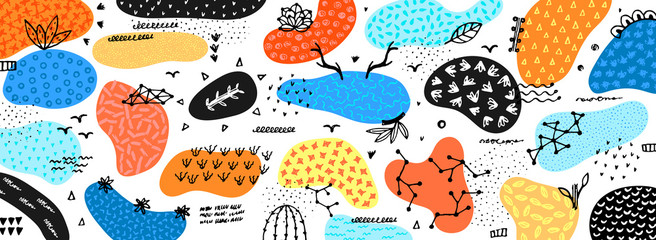 Vector abstract creative background with hand drawn elements and different textured shapes. Freehand style. Applique. Unique artistic design. Header, poster, cover, banner, card, invitation, packaging