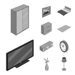 Vector design of bedroom and room sign. Set of bedroom and furniture stock symbol for web.