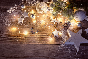 Christmas decoration in vintage style at old wooden board