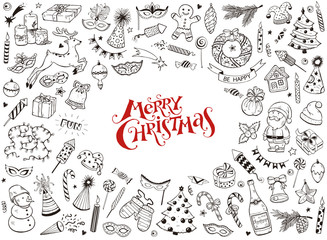 Merry Christmas design elements in doodle style isolated on white background. Vector illustration of xmas traditional symbols. Santa, deer, gingerbread, Christmas tree etc. Happy New Year sketches.