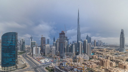 Beautiful luxury Dubai downtown aerial top view before sunset timelapse, Dubai, United Arab Emirates