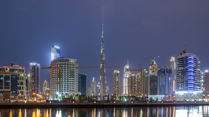 Dubai business bay towers day to night timelapse