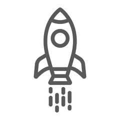 Spaceship line icon, shuttle and cosmos, rocket sign, vector graphics, a linear pattern on a white background.