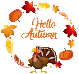 A turkey on autumn card template