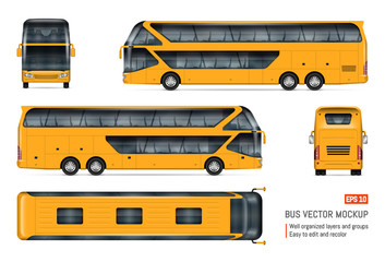 Tourist bus vector mockup on white background for vehicle branding, corporate identity. View from side, front, back, and top. All elements in the groups on separate layers for easy editing and recolor