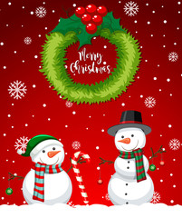 Red merry christmas snowman card