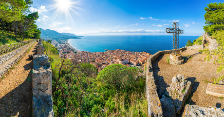 Aerial view of Cefalu and Mediterranean sea, seen from La Rocca park, Sicily island, Italy