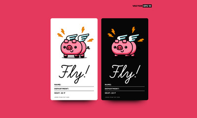 Cute Pig Badge Card With Wings Illustration