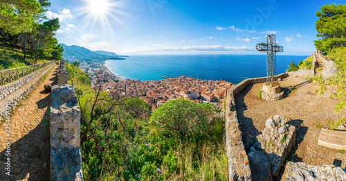 Wall mural Aerial view of Cefalu and Mediterranean sea, seen from La Rocca park, Sicily island, Italy