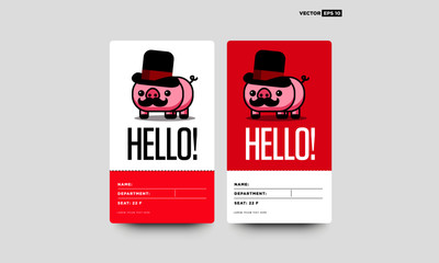 Cute Capitalist Pig Card Moustache and Hat Illustration Saying Hello