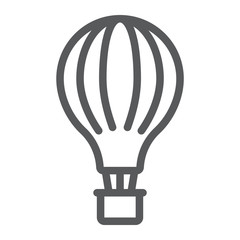 Hot air balloon line icon, airship and flight, aerostat sign, vector graphics, a linear pattern on a white background.