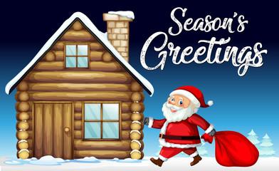 Santa on christmas card template