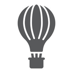Hot air balloon glyph icon, airship and flight, aerostat sign, vector graphics, a solid pattern on a white background.