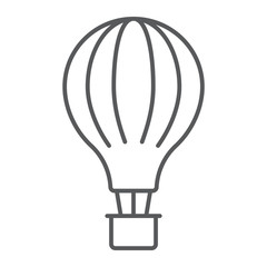Hot air balloon thin line icon, airship and flight, aerostat sign, vector graphics, a linear pattern on a white background.