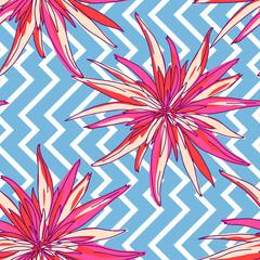 Floral summer seamless background. Flowers chrysanthemum hand-drawn vector illustration