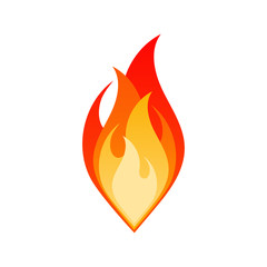 Flat fire flame isolated vector illustration. Dangerous bonfire with burning flames in yellow, red and orange colors isolated on white background for flammable emblem or gas explosion safety sign