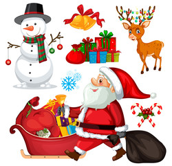 Set christmas objects and characters