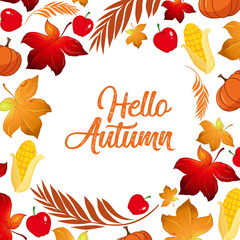 Hello autumn leaf template