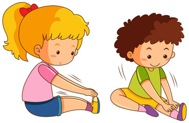 Boy and girl exercise on white background