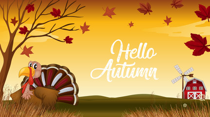 Hello autumn thanks giving card