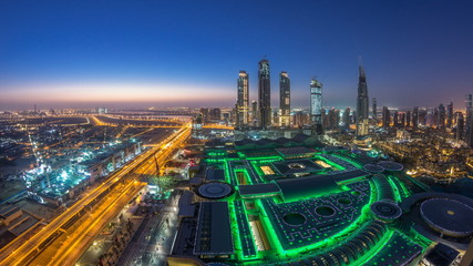 Dubai downtown night to day timelapse. Top view from above