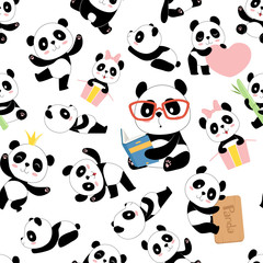 Panda pattern. Traditional asian cute china baby bears vector seamless illustrations with animals characters. Black white bear background, pattern asia fauna