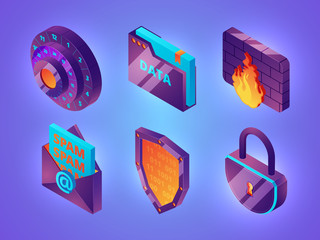 Internet online security 3D. Personal data web protection safety computer internet services firewall vector isometric pictures. Illustration of security and protection internet, online safety password