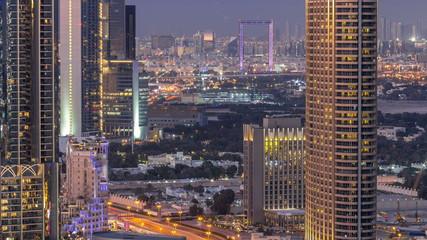Dubai downtown day to night timelapse