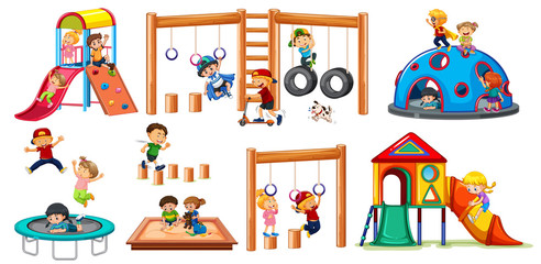 Children on playground equipment
