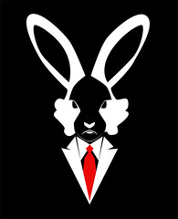 Rabbit head in a tuxedo, art background black and white