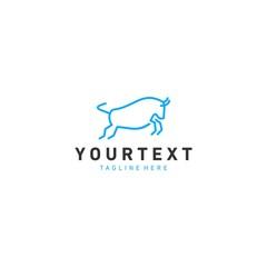 Bull monoline Logo, simple & modern Logo