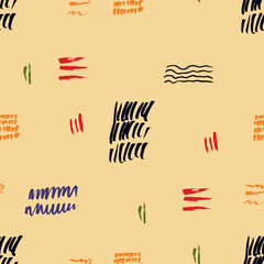 Seamless pattern hand drawn with a brush strokes. Abstract paint brushstrokes vector illustration. Grunge background. Good for web, print, textile and wrapping paper.
