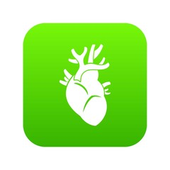 Heart icon digital green for any design isolated on white vector illustration
