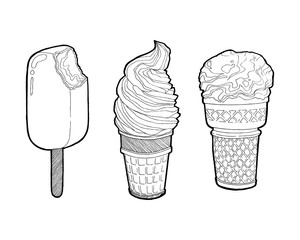 Vector vintage hand drawn set of ice cream. Chocolate ice Cream bitten and Ice Cream in a waffles isolated on white background. Hand drawing doodle vector