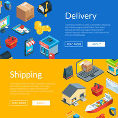 Vector isometric logistics and delivery icons. Web banne and poster page templates illustration