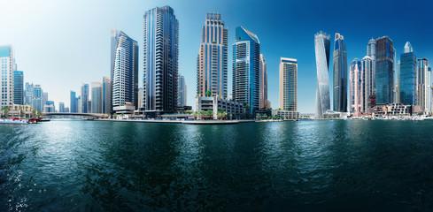 Panoramic view to Dubai Marina Promenade, UAE