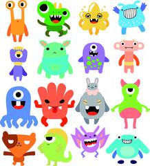 cartoon cute monster vector set