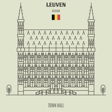Town Hall in Leuven, Belgium. Landmark icon