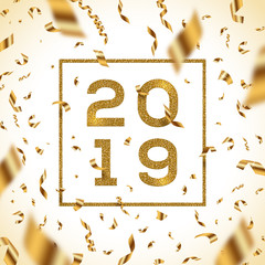 New year 2019 vector illustration. Glitter gold numbers of a year with frame and golden foil confetti.