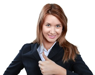 Happy Businessmoman with The Thumb Up - Isolated