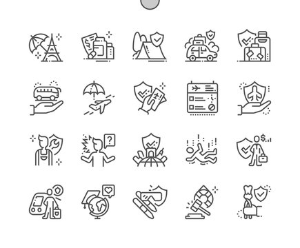 Travel insurance Well-crafted Pixel Perfect Vector Thin Line Icons 30 2x Grid for Web Graphics and Apps. Simple Minimal Pictogram