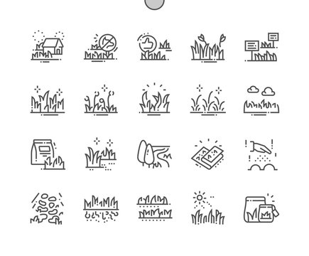 Types Garden grass Well-crafted Pixel Perfect Vector Thin Line Icons 30 2x Grid for Web Graphics and Apps. Simple Minimal Pictogram