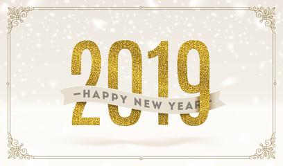 Happy New Year 2019 - holidays vector illustration.